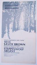 10 Cc, Savoy Brown, Steppenwolf, Argent 2 Shows 1975 Original Concert Poster