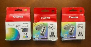 NEW set of 6 Canon Pixma BCI-15 and 16 printer ink cartridges, 4 black, 2 color