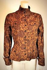 Peruvian Connection Brown Floral Stretch Cotton High Button up fitted Jacket 10