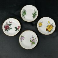 Vtg Set 4 Princess House Exclusive England Bone China Butter Pats Dish Flowers