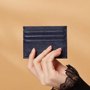 PORTE CARTE DE CREDIT SLIM COMPACT EN CUIR COULEUR BLEU MARINE FEMME CARD HOLDER