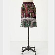 ODILLE Anthropologie Spectrum Map Velvet Skirt Size 2