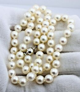"""14k white gold 18"""" 5.5-7mm round Akoya cultured pearl strand necklace estate"""
