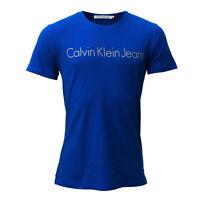 Calvin Klein Jeans Herren T-Shirt blau, Gr. XXL, Round Neck, Rundhals, Kurzarm