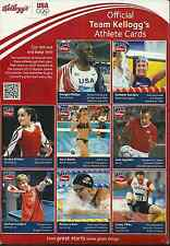 TEAM KELLOGG'S 2012 OFFICIAL ATHLETE CARDS, UNCUT & INTACT ON RICE KRISPIES BOX