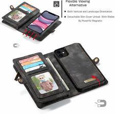 iPhone 11 Wallet Case Magnetic Detachable Cover Leather Zipper Pocket Black/Grey