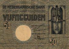 05 Netherlands / Niederlande P47 50 Gulden 1929  RRR