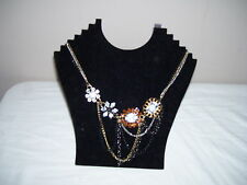 Cluster Stones and Chains Necklace 4 Stone Clusters and Several Chains 19""