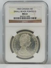 1965 Canada SMALL BEADS POINTED 5 Silver Dollar S$1 NGC MS 61 A50