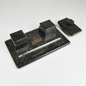 Esesge Alt-Zöblitz Old Desk Set - Marble - Inkwell - Löschwippe
