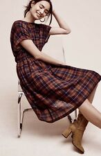 NWT Anthropologie Christina Alcalay brown black Gauzy Wool Plaid Dolman Dress M