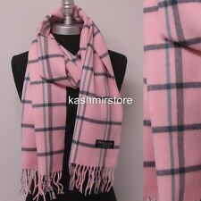 New 100%CASHMERE SCARF Check Plaid Scotland Soft Warm Wool Color Pink/teal