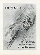 """""""BUGATTI Pursang Auto et Rail"""" Annonce originale entoilée ILLUSTRATION 29/5/1937"""