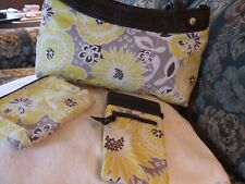 NEW THIRTY ONE PURSE, INTERCHANGEABLE SKIRT, 3 PIECES, YELLOW GRAY, BROWN