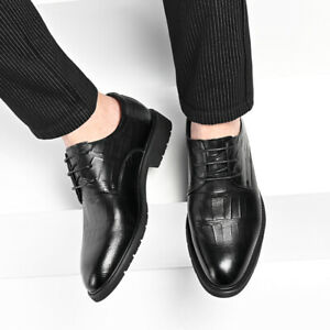 Business Men's Formal Shoes Pointed Toe Flat Lace-Up Work Office Shoes Fashion