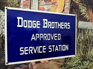 OLD VINTAGE DODGE BROTHERS CAR HEAVY PORCELAIN ENAMEL DEALERSHIP METAL GAS SIGN