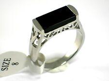 Ring Edelstahl Onyx edelstein Siegelring edelstahlring Band Gr. 18,4; 19,1 mm
