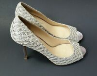 Enzo Angiolini Womens Shoes Heels Textured Peep Toe Silver Size 7.5 M