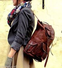 New Brown Genuine Leather Back Pack Rucksack Travel Bag For Men's and Women's