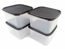 Tupperware Modular Mates Square II 2.6L Set of 4 Airtight Container Black Seal