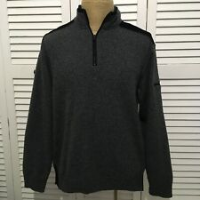 Paul and Shark Yachting Jacket 1/2 Zip Gray Black Elbow Patches 100% Wool Medium