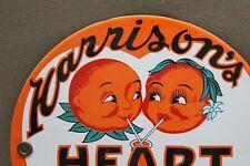 HARRISON'S HEART O O RANGE SODA POP PORCELAIN SIGN GAS OIL CAR FARM PAWN MOTOR