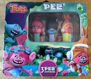 PEZ ' TROLLS ' TIN [ POPPY, BRANCH AND D.J. SUKI ]