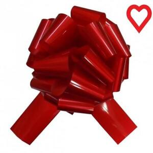 "Glossy Red Giant Bow 12"" (30cms) Pull Bow & 3 Metres Ribbon Birthdays Weddings"
