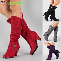 Women's Mid Calf Kitten Heel Boots Ladies Faux Suede Zipper Buckle Booties Shoes