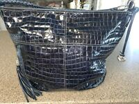 BRIGHTON MIA Sapphire Blue Patent Leather Moc Croc LARGE HOBO Handbag Purse Tote