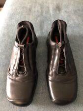 VG/EX NWOT Prada Sport Men's Black Leather Car Shoes US 8.5 NO BOX 6-1627
