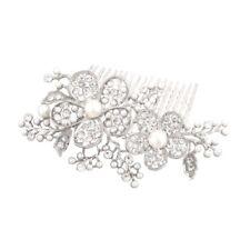 Brautschmuck Hochzeit Haarkamm Haarschmuck Blumen Perlen Weiß Kristall klar