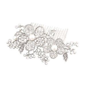 SCHNÄPPCHEN Hochzeit Haarschmuck Silber Blumen Perlen Weiß Kristall klar 9 cm L