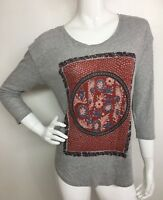 Lucky Brand Women's Cotton Gray Multi /C Floral 3/4 Sleeve Tee Blouse Top M NWT