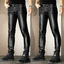 Mens Punk Motorcycle faux Leather Leisure Trousers Skinny Slim Fit Casual Pants@