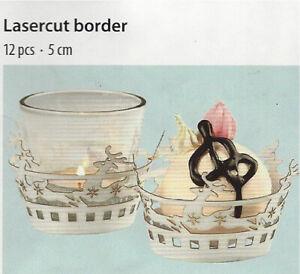 Lasercut Border Rentiere Teelichtglas Bordüre