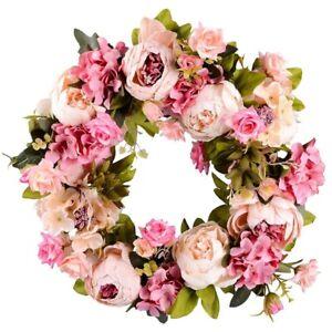 1X(Artificial Flower Wreath Peony Wreath - 16inch Door Wreath Spring Wreath