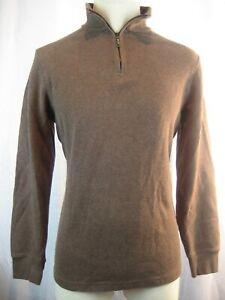 Mens Black Brown 1826 Brown 100% Cotton 1/4 Zip Pullover  Sweater sz S