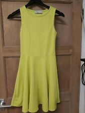 New Look Cameo Rose - Lime Green/yellow Skater Dress Size 8