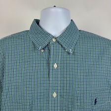 Ralph Lauren Blake Blue Green Check Plaid Mens Dress Button Shirt Size XL