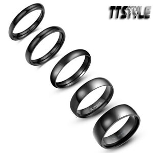 Polished TTstyle Black S.Steel Comfort Rounded Band Ring Size 2-14 Width 2-8mm