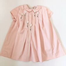 Vintage 70s FE Kids Girls Dress Pink White Flowers Applique Zipper Children Sz 5