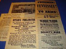 Civil War Recruitment, Set, North and South 5 Replicas on Antiqued Parchment