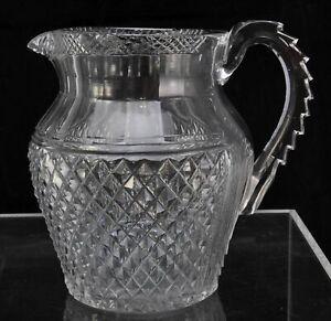 Antique Regency Cut Flint Glass Water Pitcher circa 1810 AS IS