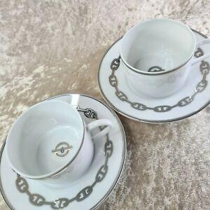 Hermes Cup & Saucer x 2 sets CHAINE D'ANCRE PLATINUM Authentic w/No Box (UNUSED)