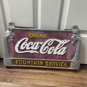 "RARE Vintage 1930s""Drink Coca Cola Fountain Service"" Cast Iron Bench Plaque Sign"