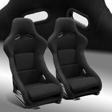 2 x Fixed Pole Position Black Fabric Left/Right Fiberglass Racing Bucket Seats