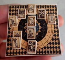 DOLLHOUSE MINIATURE ~ HALLOWEEN HARLEQUIN TAROT BOARD by LORRAINE SCUDERI