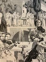 Maurice Denis gravure Eau Forte Etching Violon Violoncelle Musique