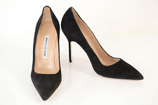Manolo Blahnik black 7 37 suede point toe slip on stiletto pump shoe NEW $625